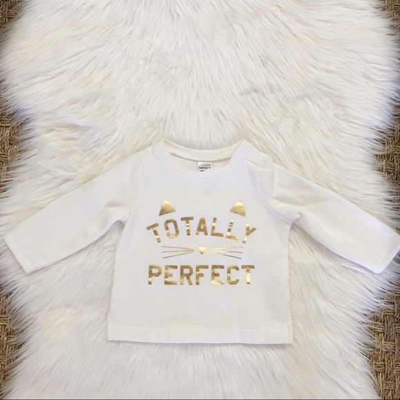 Carter's Other - Carter's White Gold Totally Perfect Sweatshirt 12M
